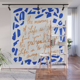 Picasso Quote in Cobalt and Gold Wall Mural
