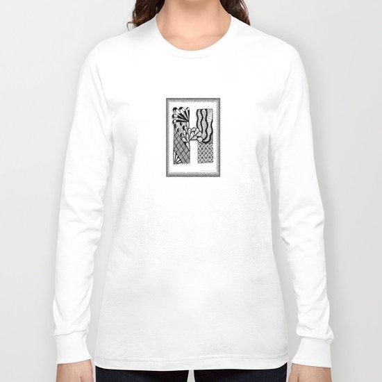 Zentangle H Monogram Alphabet Illustration Long Sleeve T-shirt