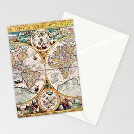Remarkable Orbis Terrarvm Old World Map Art Stationery Cards