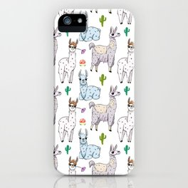 Cute and Whimsical Llama Pattern iPhone Case