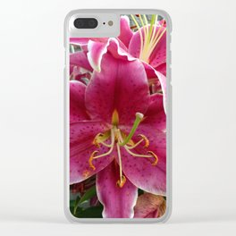 Hot Pink Star Gazer Lily Clear iPhone Case