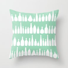 Bottles Mint Throw Pillow