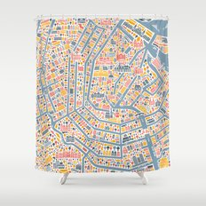Amsterdam City Map Poster Shower Curtain