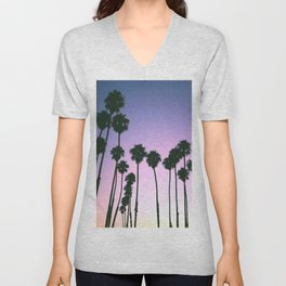 Palm Tree Purple Sunset Unisex V-Neck