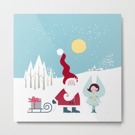 Santa and the little Angel Metal Print