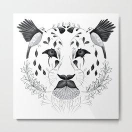 Leopard Face Symmetrical Design Combining Flora and Fauna Metal Print