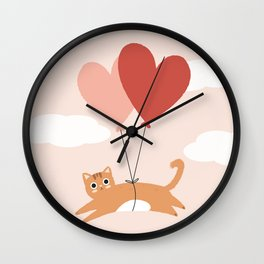 Love Is In The Air Cat Wall Clock