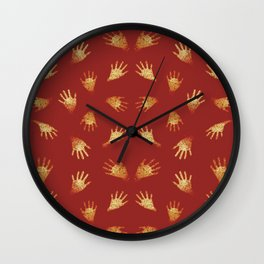 Primitive Art Hands Motif Pattern Wall Clock