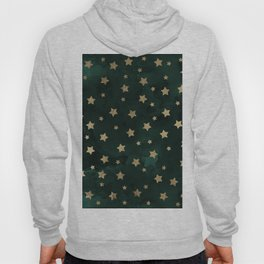 Modern gold christmas stars geometric pattern green watercolor Hoody