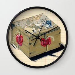 Old French Wood Box in Gouache Wall Clock