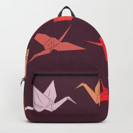 Japanese Origami paper cranes sketch, symbol of happiness, luck and longevity Backpack