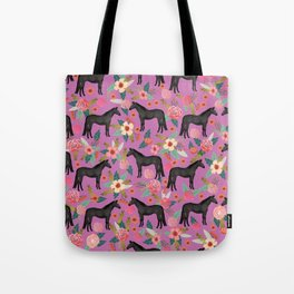 black beauty, mare, horse, horses, floral, florals, black horse, horse bedding, horse decor, cowgirl Tote Bag