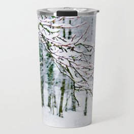 Snowy Branch In The French Alps Travel Mug