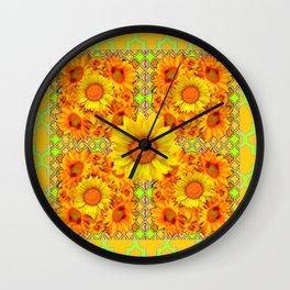 YELLOW SUNFLOWER GARDEN PATTERN DESIGN Wall Clock