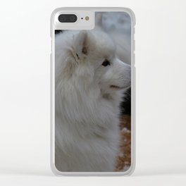 fluffy snow dog Clear iPhone Case