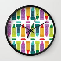 lipstick Wall Clocks featuring Lipstick by Piper Burke