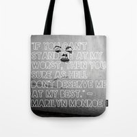 monroe Tote Bags featuring Monroe by CATHERINE DONOHUE