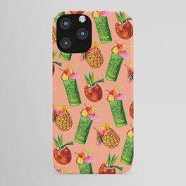 Tiki Cocktail Pattern - Peach iPhone Case