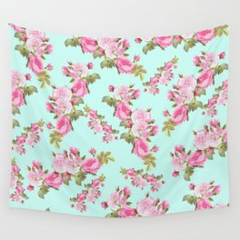 Pink & Mint Green Floral Wall Tapestry