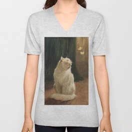 White Cat and Two Brimstone Butterflies by Arthur Heyer Unisex V-Neck