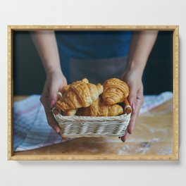 Croissant in a wicker basket Serving Tray