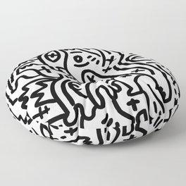 Graffiti Street Art Black and White Floor Pillow