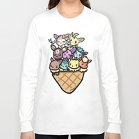 eevee Long Sleeve T-shirts featuring Eevee Ice Cream by Mayying