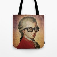 mozart Tote Bags featuring Funny Hipster Mozart by Paul Stickland for StrangeStore