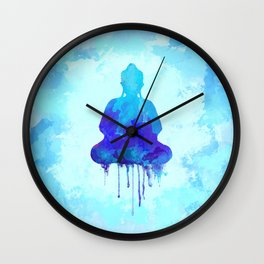 Watercolor zen Buddha blue Wall Clock