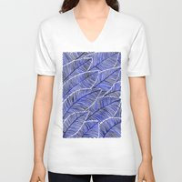 navy V-neck T-shirts featuring Tropical Navy by Cat Coquillette