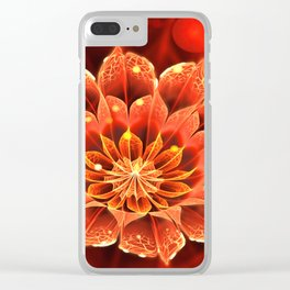 Red Dahlia Fractal Flower with Beautiful Bokeh (Vivid Crimson) Clear iPhone Case