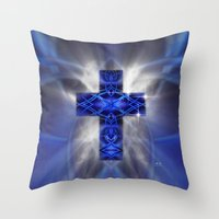 cross Throw Pillows featuring Cross by Mr D's Abstract Adventures