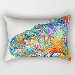 Colorful Iguana Art - One Cool Dude - Sharon Cummings Rectangular Pillow