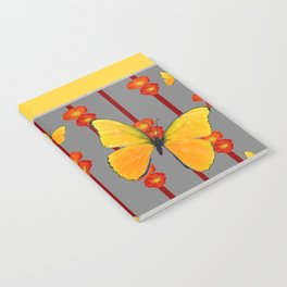 YELLOW FRAMED YELLOW BUTTERFLY POPPY Floral ART Notebook
