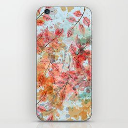 Watercolor autum foliage on blue iPhone Skin