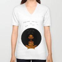 spiritual V-neck T-shirts featuring Spiritual AfroGirl by Pweety Sexxay