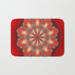 Red Vintage Flower Background Pattern Bath Mat