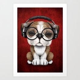 English Bulldog Puppy Dj Wearing Headphones and Glasses on Red Art Print
