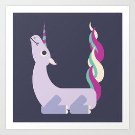 Letter U // Animal Alphabet // Unicorn Monogram Art Print