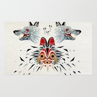 princess mononoke Area & Throw Rugs featuring mononoke princess by Manoou