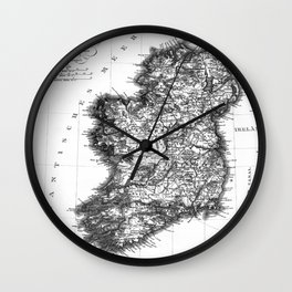 Vintage Black and White Ireland MAp Wall Clock