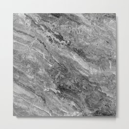 Grayscale Marble Metal Print