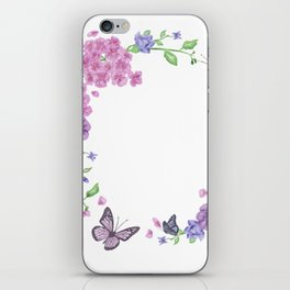 Butterfly And Flowers Violet Circle iPhone Skin