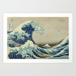 Great Wave Off Kanagawa (Kanagawa oki nami-ura or 神奈川沖浪裏) Art Print