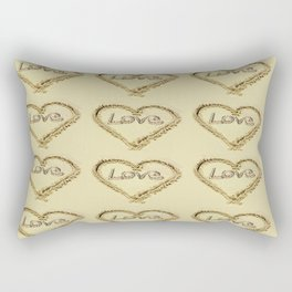 Love Harts in the Sand Rectangular Pillow