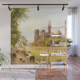 L'lle de la Cite and the Cathedral of Notre Dame, Paris from Quai Montebello by Firmin Girard Wall Mural
