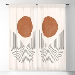 Boho Geometric Shapes, Abstract Lines and Shapes, Arch Lines, Burnt Orange - Mid-century Sun Blackout Curtain