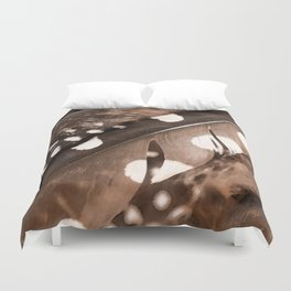 Beautiful Feathers On A Dark Brown Background #decor #buyart #society6 Duvet Cover