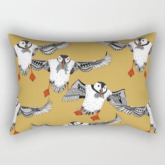 Atlantic Puffins gold Rectangular Pillow