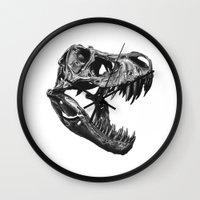 t rex Wall Clocks featuring T Rex by Sascha Selli
